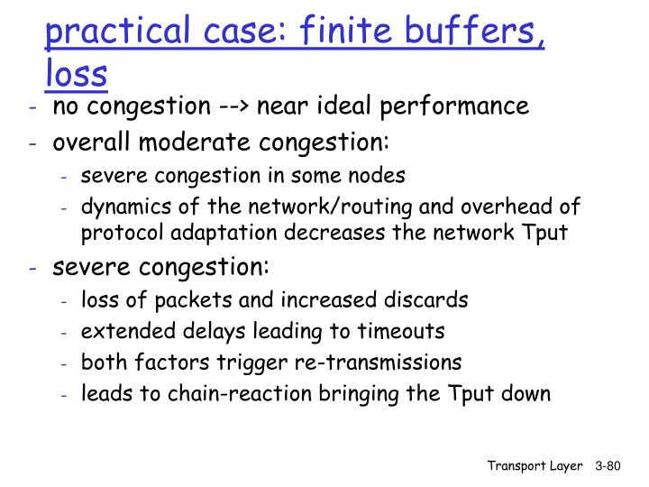 practical case: finite buffers, loss