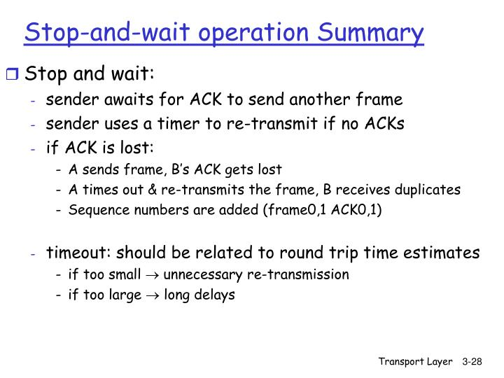 Stop-and-wait operation Summary
