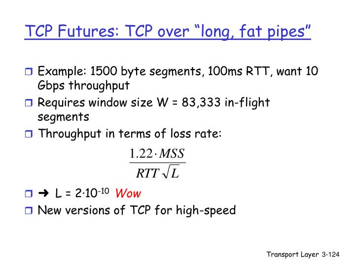 "TCP Futures: TCP over ""long, fat pipes"""