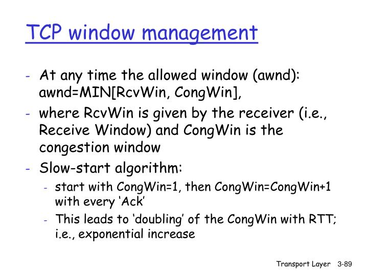 TCP window management