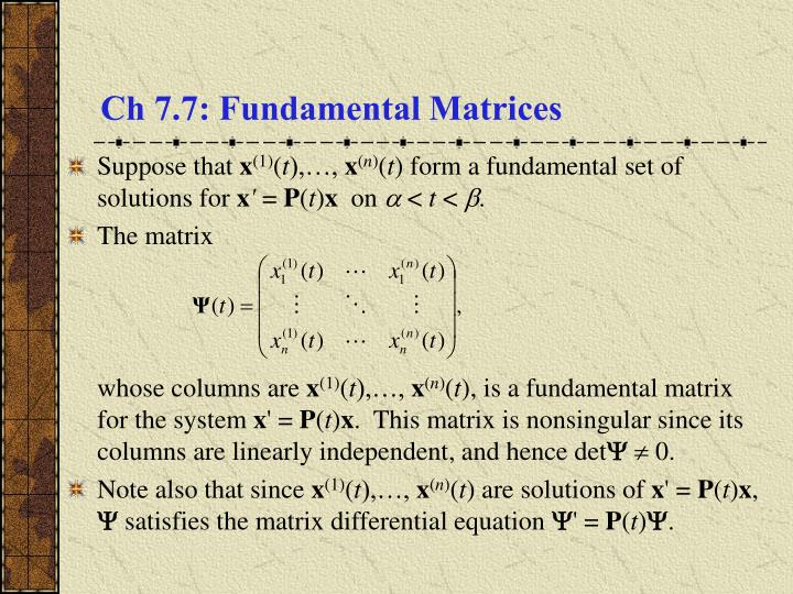 Ch 7 7 fundamental matrices