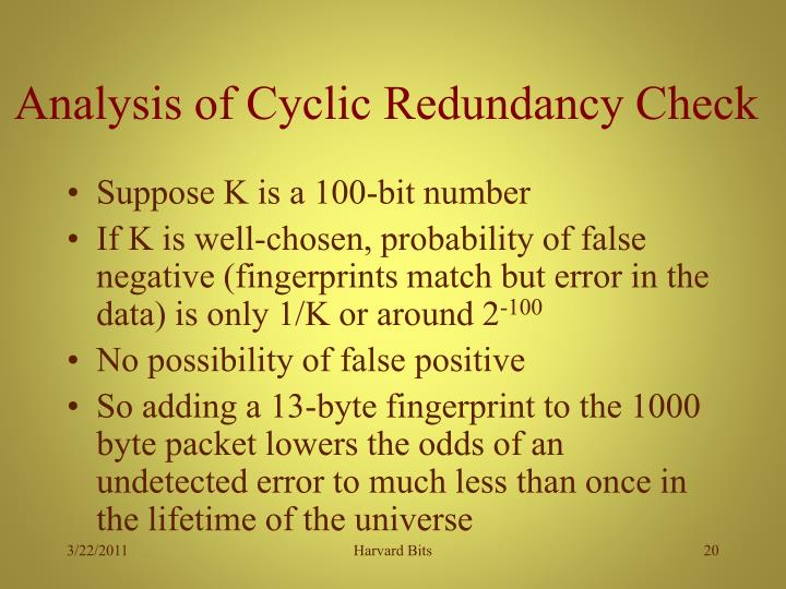Analysis of Cyclic Redundancy Check