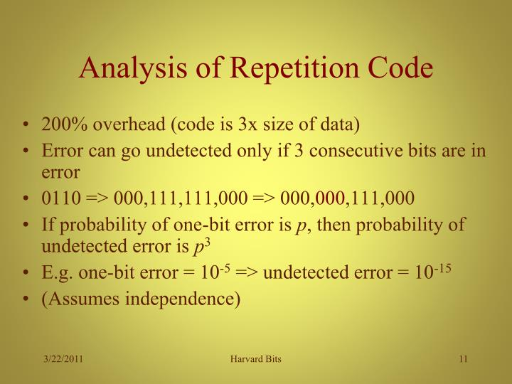 Analysis of Repetition Code