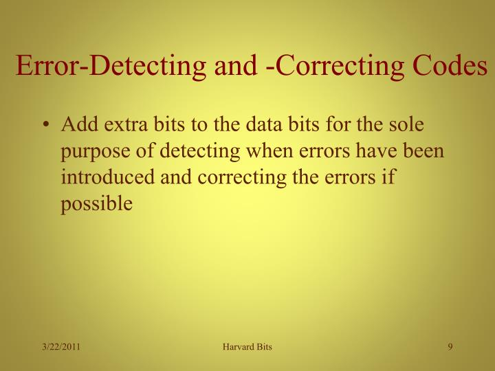 Error-Detecting and -Correcting Codes