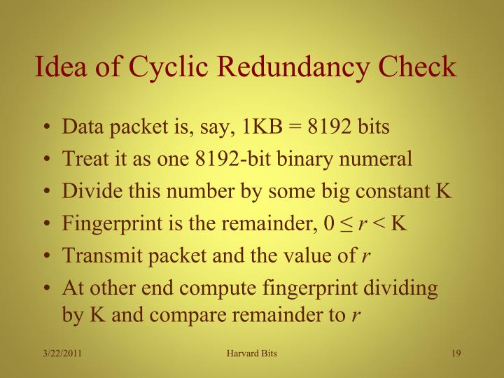 Idea of Cyclic Redundancy Check
