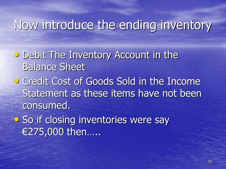 Now introduce the ending inventory