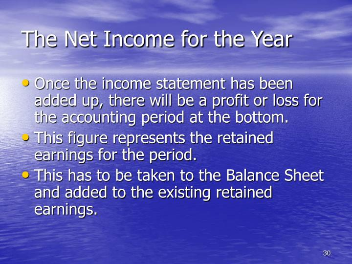 The Net Income for the Year