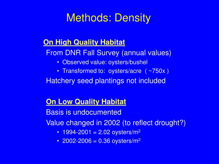 Methods: Density