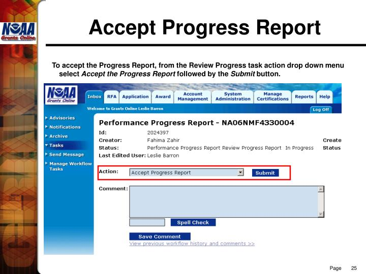 Accept Progress Report