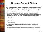 grantee rollout status