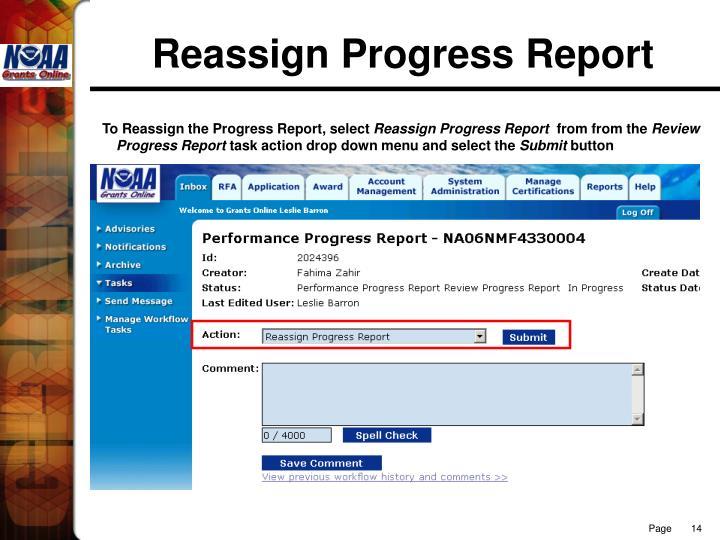 Reassign Progress Report