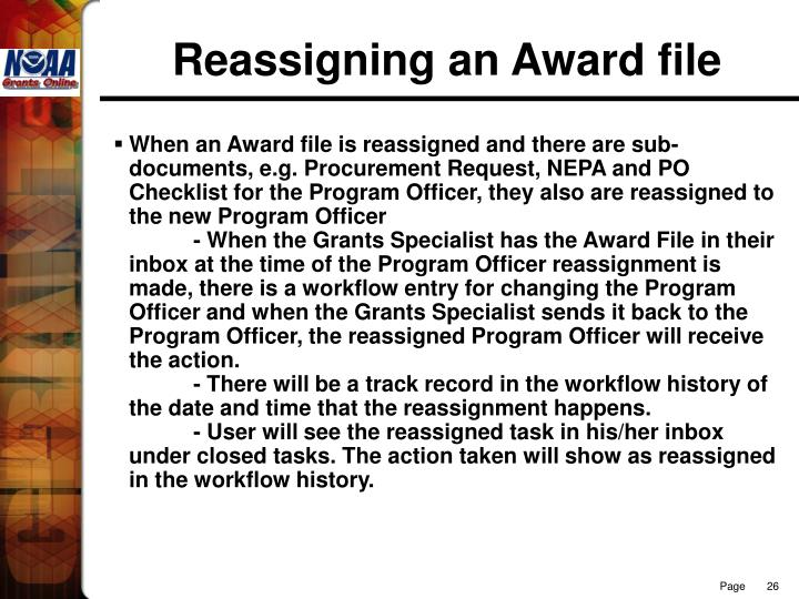 Reassigning an Award file