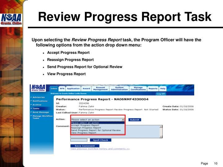 Review Progress Report Task