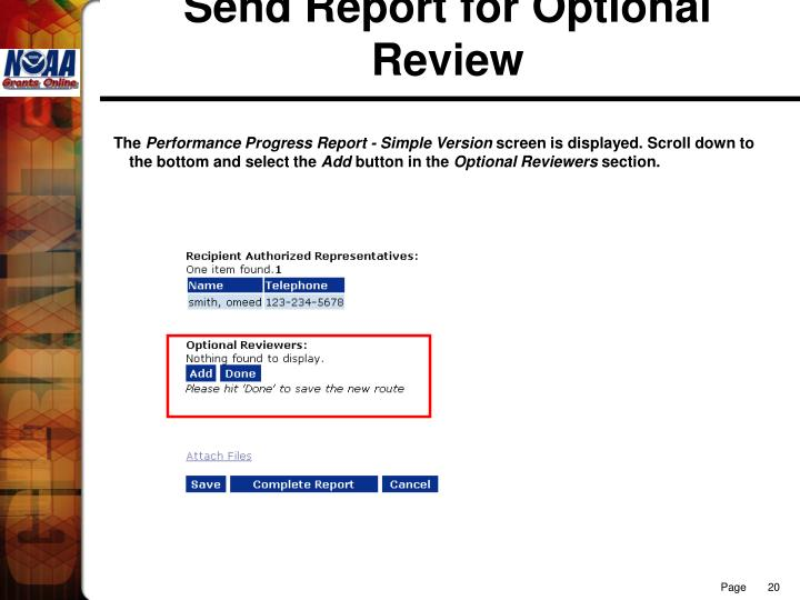 Send Report for Optional Review