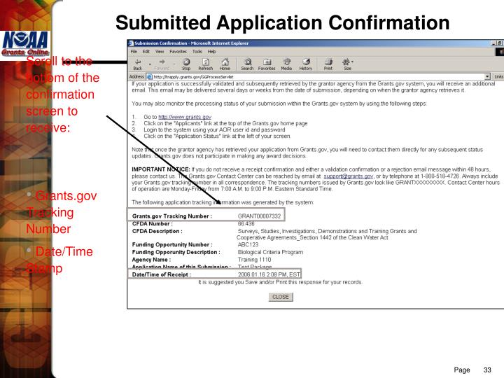 Submitted Application Confirmation