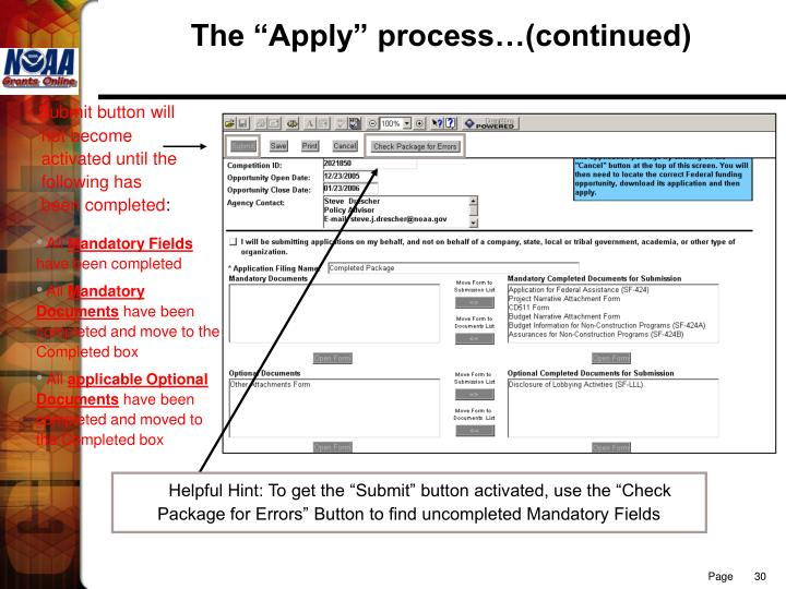 "The ""Apply"" process…(continued)"