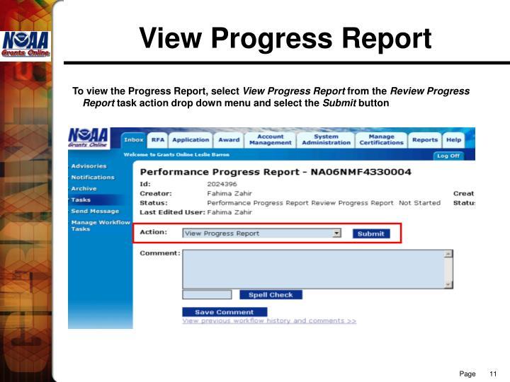 View Progress Report