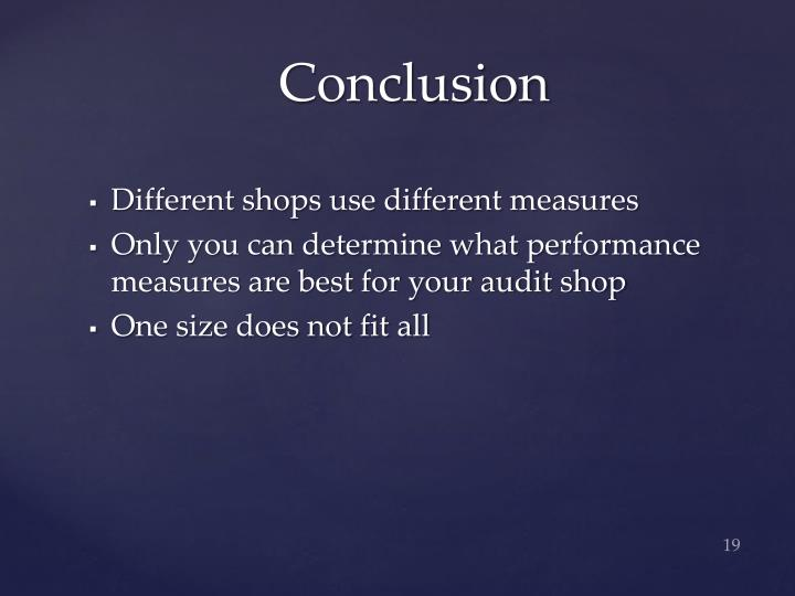 Different shops use different measures