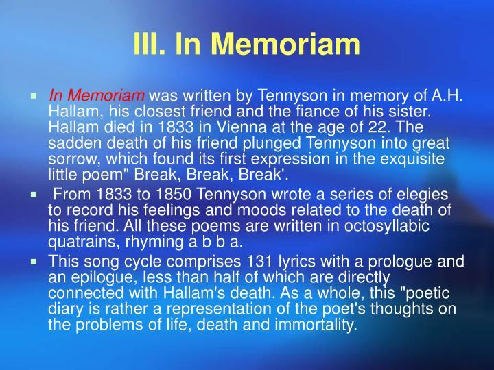 III. In Memoriam