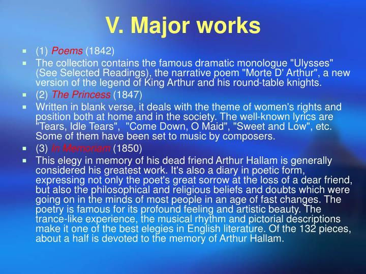 V. Major works