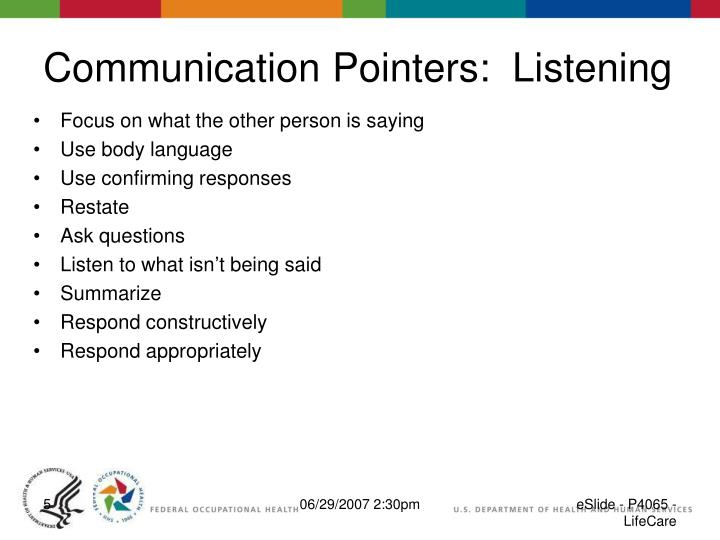 Communication Pointers:  Listening