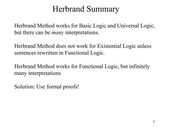 Herbrand Summary