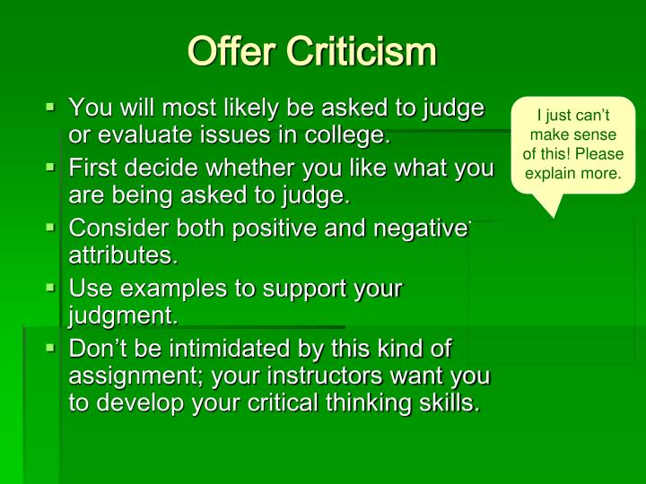 Offer Criticism
