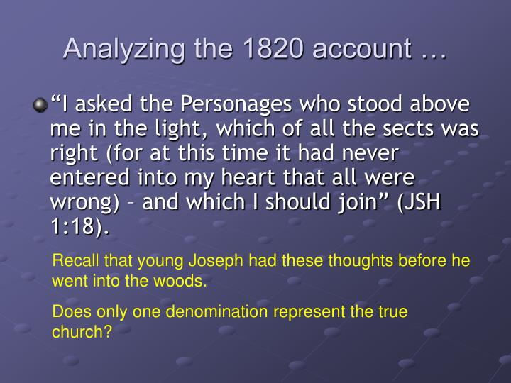Analyzing the 1820 account …