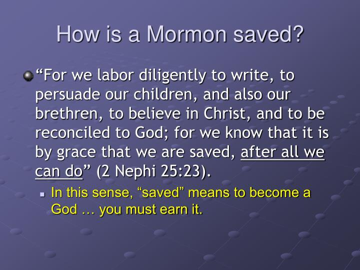 How is a Mormon saved?