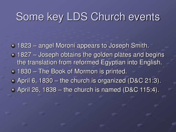 Some key LDS Church events