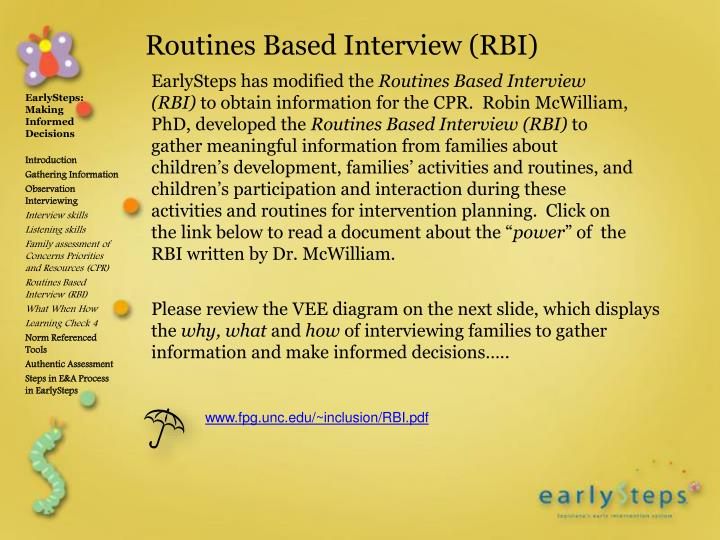 Routines Based Interview (RBI)