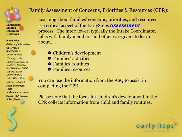 Learning about families' concerns, priorities, and resources