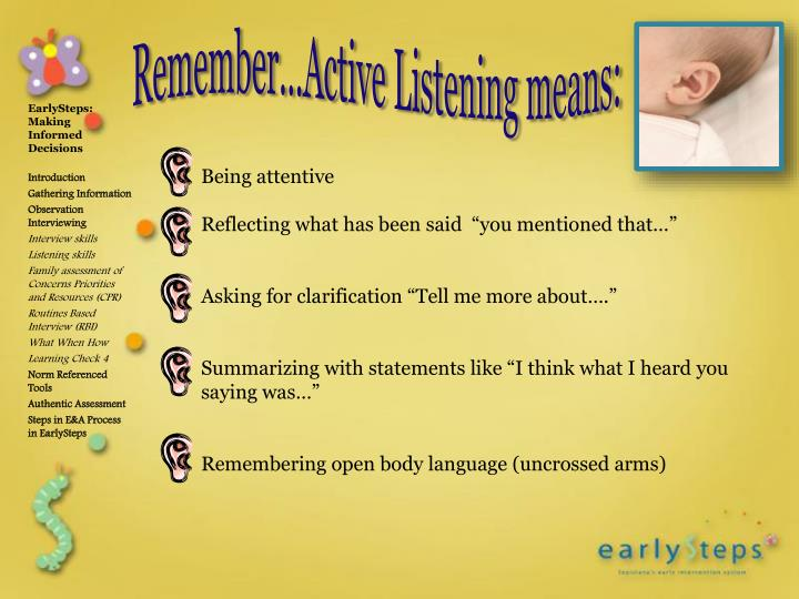 Remember…Active Listening means: