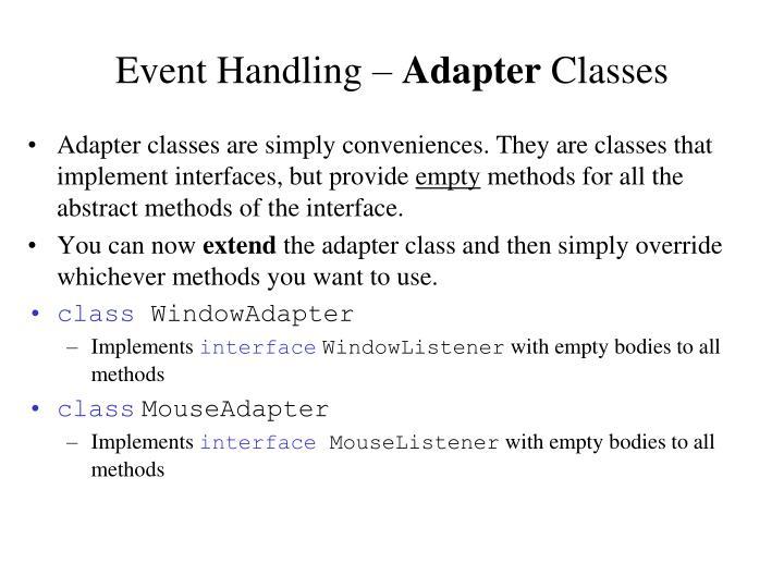 Event Handling –