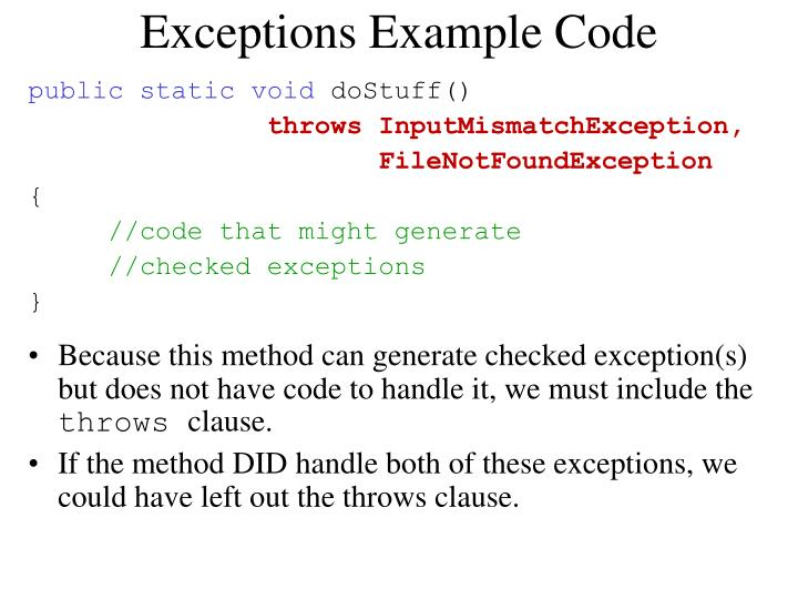 Exceptions Example Code