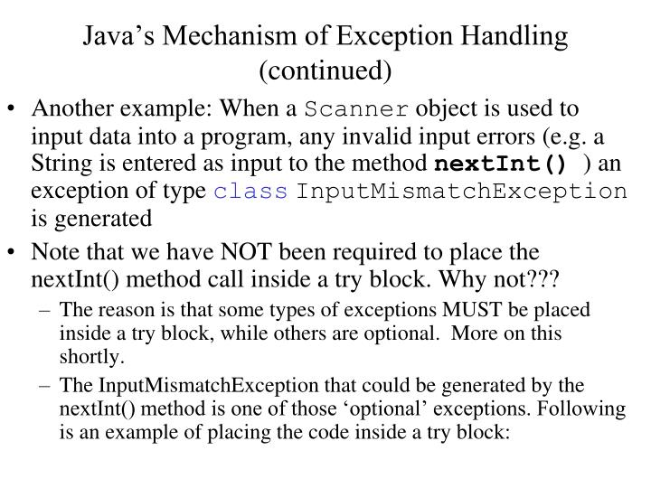 Java's Mechanism of Exception Handling (continued)