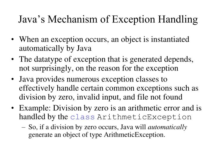 Java's Mechanism of Exception Handling