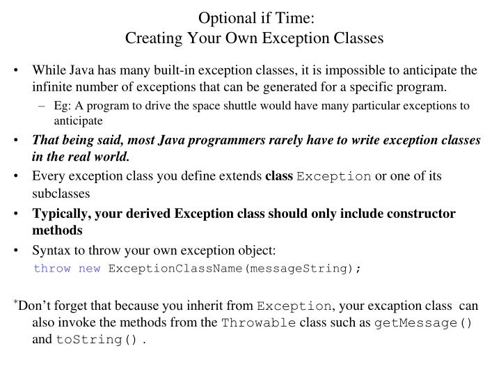 Optional if Time: