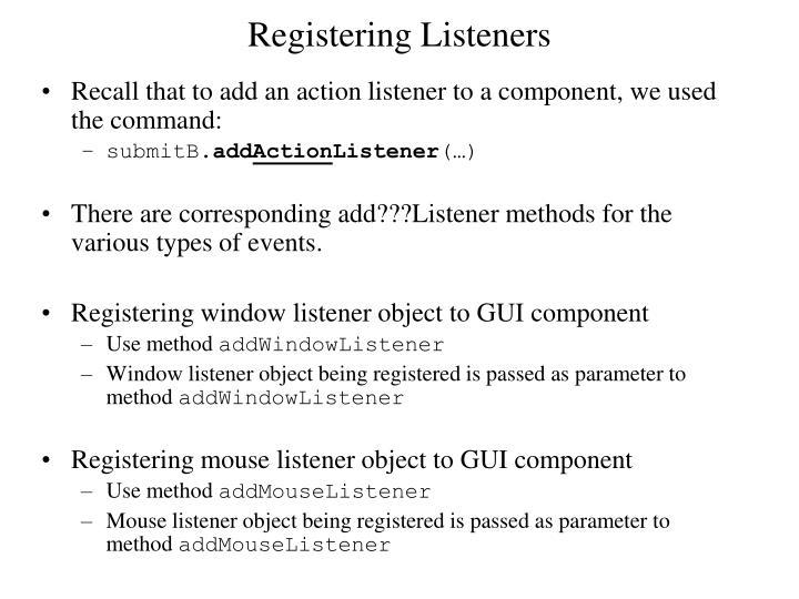 Registering Listeners