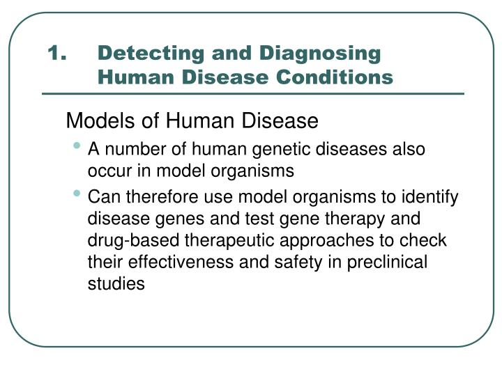 1 detecting and diagnosing human disease conditions