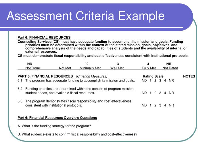 Assessment Criteria Example