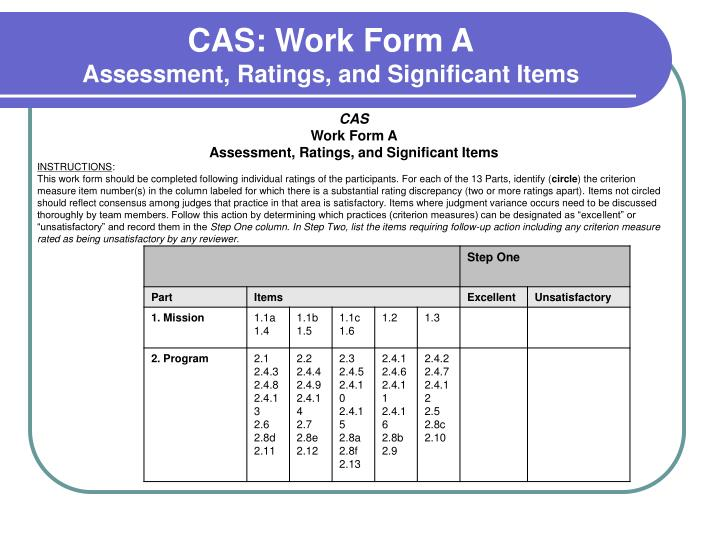 CAS: Work Form A
