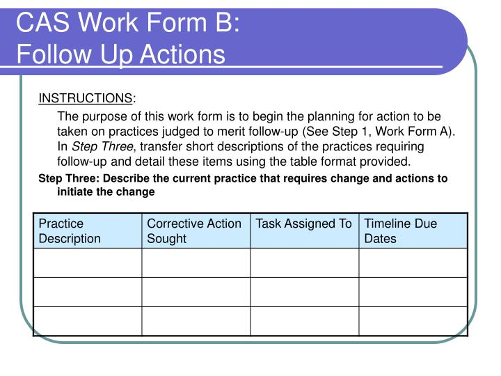 CAS Work Form B: