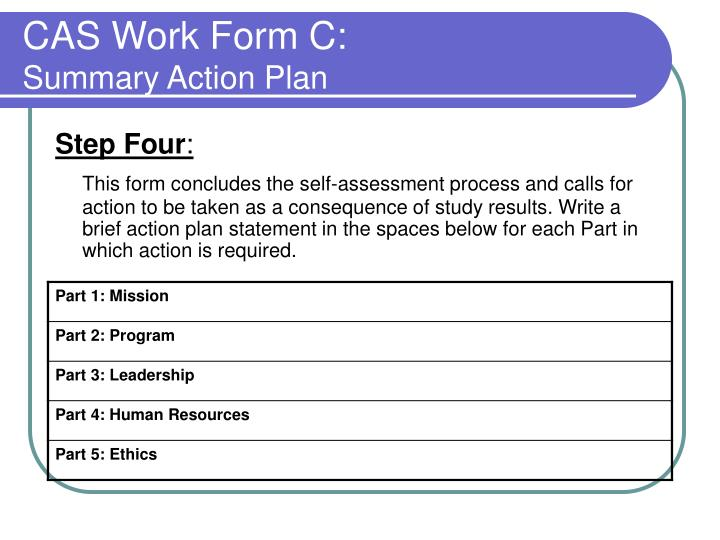 CAS Work Form C:
