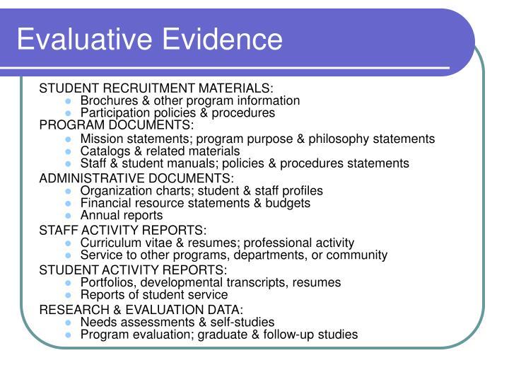 Evaluative Evidence