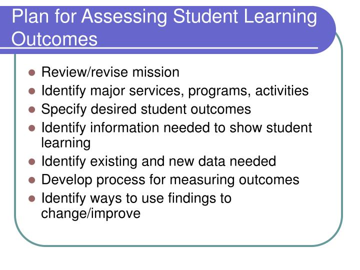 Plan for Assessing Student Learning Outcomes