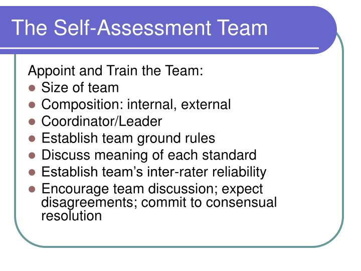The Self-Assessment Team