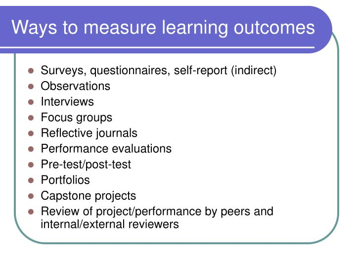 Ways to measure learning outcomes
