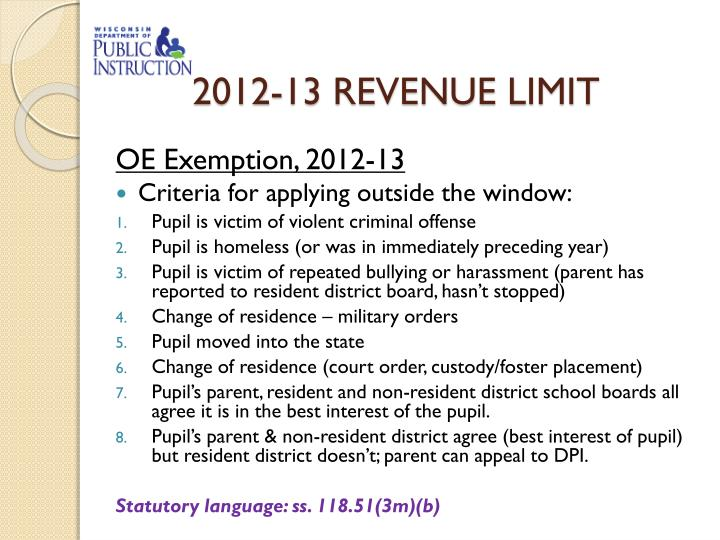2012-13 REVENUE LIMIT