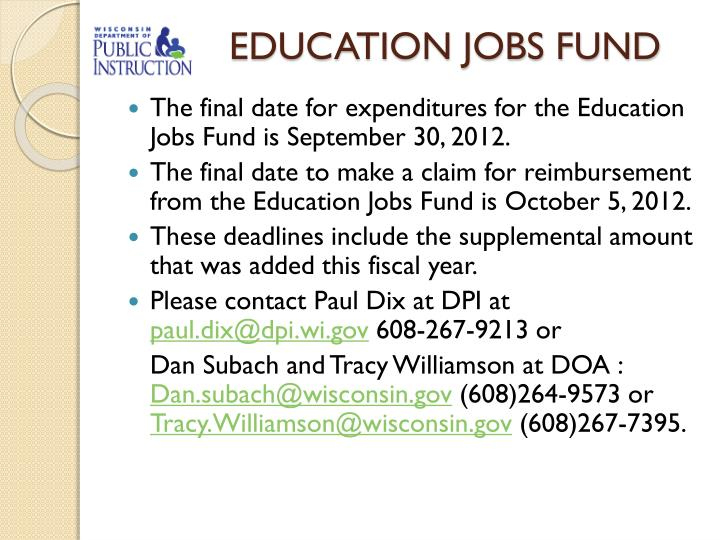 EDUCATION JOBS FUND